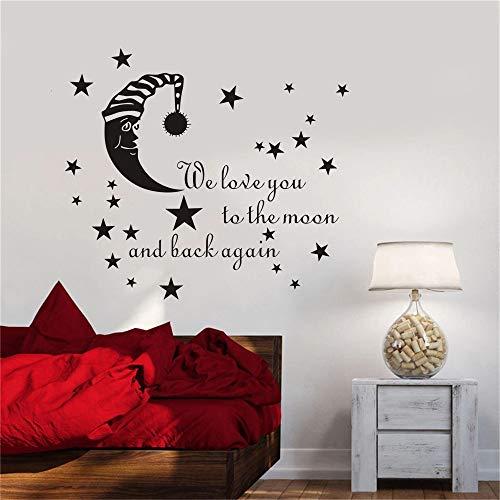Dibujos animados durmiendo luna estrellas etiqueta de la pared papel tapiz de pared sala de juegos etiqueta de la pared