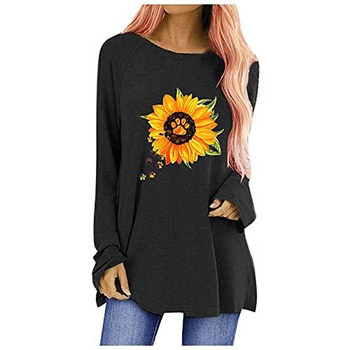 neiabodos Camiseta de manga larga con estampado de jirafa y cuello redondo para mujer, de manga larga y...
