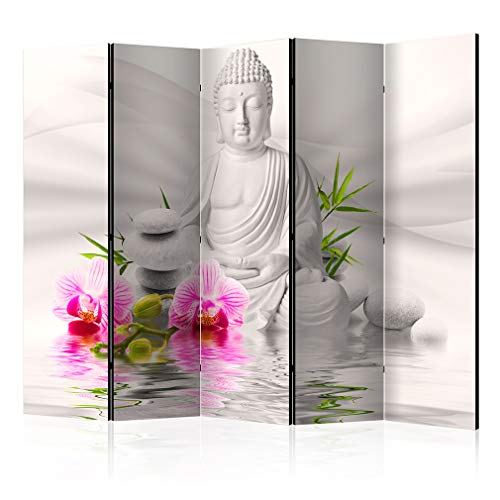 decomonkey Paravent Raumteiler XXL Einseitig Buddha 225x172 cm 5 TLG. Trennwand Vlies Leinwand Raumtrenner Sichtschutz spanische Wand Blickdicht Textile Haptik Oriental Orchidee Rose Weiß