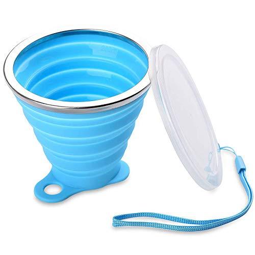 CHUER Silikon Falten Tasse Becher, Faltbar Klappbar Lebensmittelecht Ungiftig Silikon:BPA-frei tragbare Kaffee Tasse für Wandern Camping Outdoor Sport, bruchfest, 240ml Für Heiß und Kaltgetränke