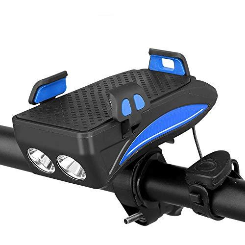 Soporte para teléfono móvil para bicicleta, 4 en 1, soporte para teléfono móvil para bicicleta, soporte universal LED, cargador USB con bocina impermeable (4000 mAh), color azul