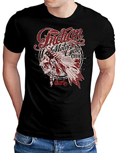 OM3® Indian-Motorcycle-Club T-Shirt | Herren | Skull Chopper Bike Motorbike | Schwarz, L
