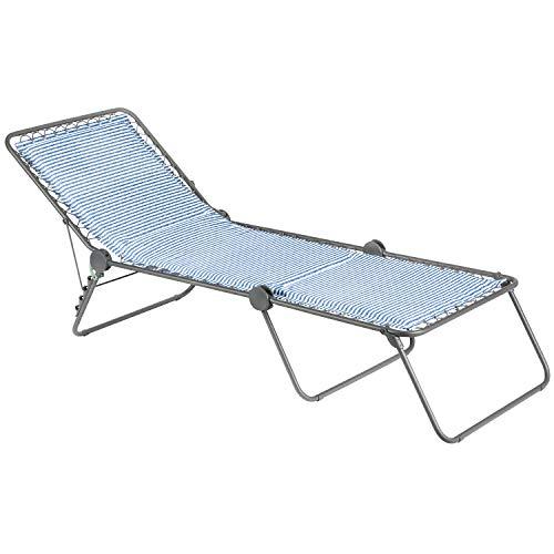 LAFUMA MOBILIER Sonnenliege, Klappbar mit verstellbarem Rückenteil, Mit Schnürsystem, Siesta L, Polyester/Baumwolle, Farbe: Marine, LFM2291-9291