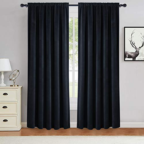 Haperlare Room Darkening Velvet Curtains for Window 84 inches-Heat & Noise Reducing Window Covering Privacy Drapes for Living Room/Basement Backdrops, Black, W42 x L84 inches, 2 Panels