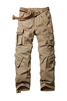 AKARMY Men's Ripstop Wild Cargo Pants, Relaxed Fit Army Camo Combat Casual Work Trousers with 8 Pockets 3355 Khaki 36