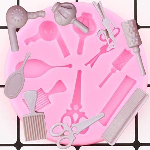 YUIOP RYWDBF Frau Haar Schönheit Make-up Werkzeuge Kamm Curling Spiegel Schere Trockner Silikonformen Praline Fondant Kuchen Dekorationswerkzeuge