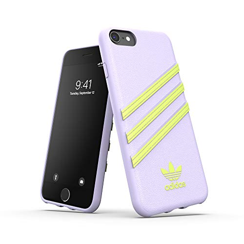 adidas Funda para iPhone 6/6S/7/8, diseño Original de Tres Rayas, Color Blanco y Amarillo