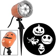 Holiday Living Gemmy Whirl-a-Motion Plus Strobe Multi-Function White Led Happy Halloween Indoor/Outdoor Projector