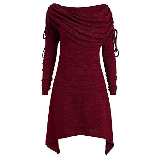 Ericcay 2020 Ropa De Mujer Tallas Grandes Moda para Mujer Sólido Ruffled Long Over Festivo Fold Gargantilla Túnica Irregular Top Blusa Tops Jerseys (Color : Wein Rot, One Size : S)