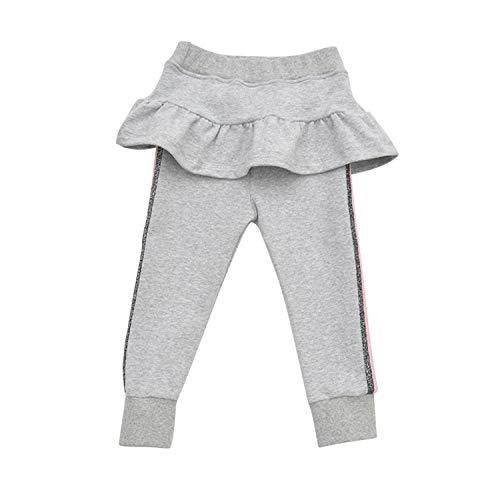 De feuilles Legging Bébé Fille en Coton Pantalon de Sport Moulant Collant Doux et Confortable Gris 5-6 Ans (Tour de Taille 46 cm)