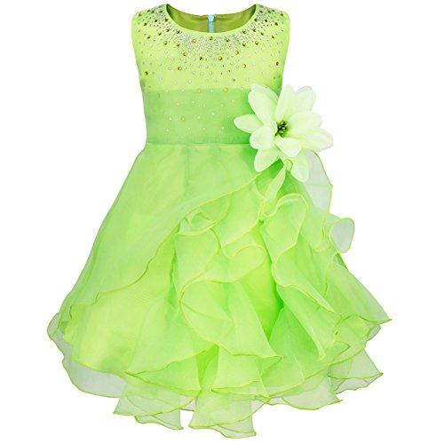 Freebily Baby Mädchen Kleid Festlich Prinzessin Blumen Kleid Partykleider Taufkleid Blumenmädchenkleid Hochzeit Babykleid in Gr.62-98 Grün 92-98