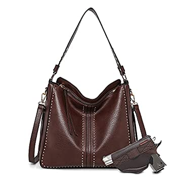 Montana West Tote Bag for Women Large Concealed Carry Purses and Handbags Faux Leather Hobo Bags Shoulder Bag with Crossbody Strap and Gun Holster MWC-G1001CF