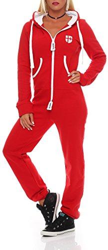 Hoppe Damen Jumpsuit Jogger Einteiler Jogging Anzug Trainingsanzug Overall (XL, Rot) - 2