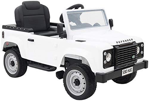 Playtastic Kinderauto - Land-Rover-Defender, Tretpedalen und Eva-Rädern, weiß