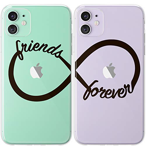 Mertak TPU Couple Cases Compatible with iPhone 12 Pro Max Mini 11 SE Xs Xr 8 Plus 7 6s Infinity Loop Black Cute Silicone Best Friend Slim Sorority Design Clear Matching Anniversary Simple Relationship