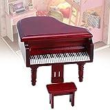 Piano Droit Miniature Piano Mini poupée Meubles Minature Maison de poupée Accessoire de Maison de poupée 1:12 poupée Petite Maison de poupée en Bois Maison de poupée pour(Red)