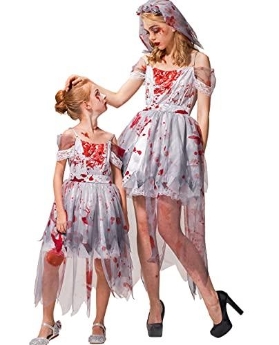IKALI Disfraz de novia zombi para mujer, Halloween, cementerio, Ghost Corpse Gown...