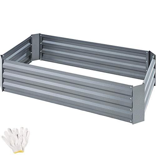 TecTake 403447 Hochbeet aus verzinktem Stahl, stabil, wetterfest und pflegeleicht, 120 x 60 x 30 cm, Gartenbeet vielseitig nutzbar, für Kräuter, Gemüse und Blumen, grau/anthrazit