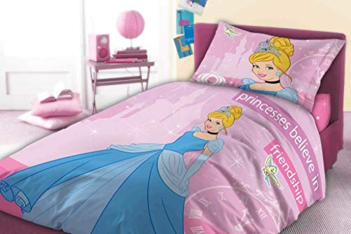 Cinderella Bettwäsche Set Bett in Flanell Bettbezug Kissenbezug Original Disney