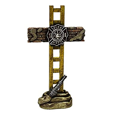 Marco Int'l US Fire Fighter Fireman Standing Cross Statue memorial 10  H