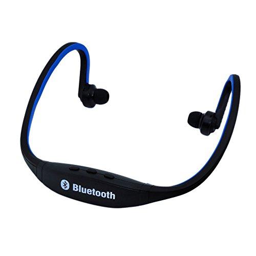 TOOGOO(R) auriculares de Deportes inalambrico Bluetooth para telefono celular Iphone PC portatil (negro con azul)