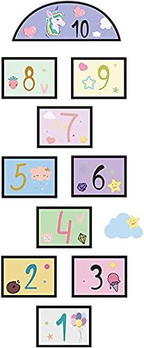 Adesivos de chão de jogo, decoração de papel de parede do corredor térreo da sala para crianças, sala de aula do berçário, número engraçado da amarelinha para crianças, aumentando as habilidades motoras brutas (roxo)