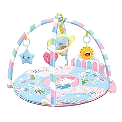 Baby Play Gym Kick and Musical Play Mat, Play Piano Gym Activity Center with Music, Lights, and Sounds Toys for Infants and Toddlers Aged 0 to 6 to 12 Months, 1 Year Birthday Gift for Girls (Pink)