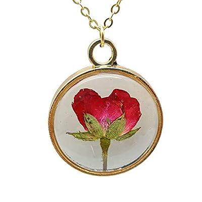 Rouge Rose Vraie Fleur Verre Flottant Médaillon Plaqué Or 18k Chaîne Colliers avec pendentifs Amour Romantique