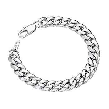 Mens Chain Bracelet Stainless Steel Curb Chain Bracelet Men 10MM 19CM Wrist Chain