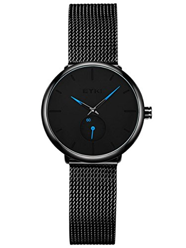 Alienwork Damen-Armbanduhr Quarz schwarz mit Metall Mesh Armband Edelstahl Ultra-flach dünn Klassik
