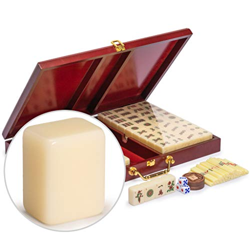Yellow Mountain Imports Chinese Mahjong Game Set - The Classic - with 148 Medium Size Tiles, Vintage Rosewood Veneer Case, Wooden Spinner, Dice, and Betting Sticks (for Chinese Style Game Play)