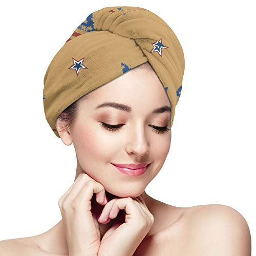 The Stars and The Stripes Microfiber Dry Hair Cap for Bath Spa Soft Super Absorbent Quick Drying Towel Wrap Wet Hair Turbans 11 inch X 28 inch