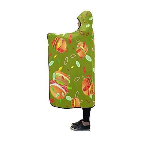 Rtosd Hooded Blanket Schmackhafte Burger gegrillte Rindfleisch Decke 60 x 50 Zoll Comfotable Hooded Throw Wrap