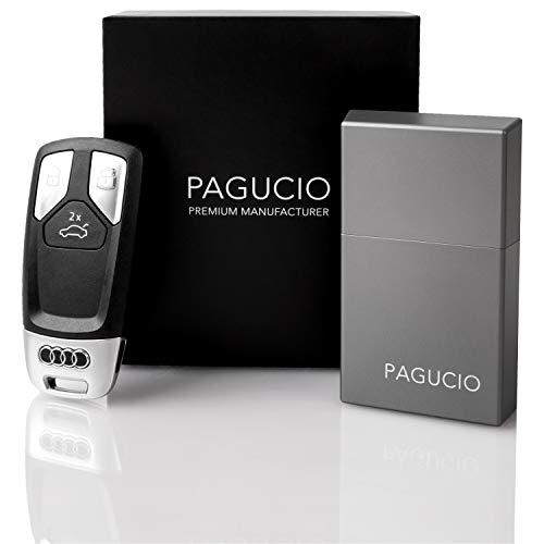 PAGUCIO® Premium Keyless Go Schutz Autoschlüssel Box - Hochwertiges Aluminium Etui für Auto Schlüssel mit 100% Keyless Go Diebstahlschutz (Pro, Space Grey)