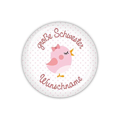lijelove® Vichy rosa, große Schwester mit Wunschname (Art. MD04-01) als Button, Magnet, Taschenspiegel und Flaschenöffner erhältlich (Button 59mm Ø)