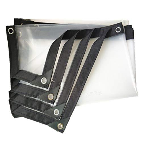 MFASD Transparant dekzeil versterkt aan de randen met ogen, stof van kunststof, waterdicht, scheurbestendig, afdekzeil voor dak/tuin/zwembad, transparant, 4 x 5 m