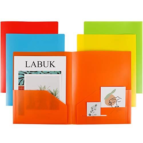 LABUK 5 Pack Plastic Pocket Folder, Letter Size Heavy Duty Folders with Pockets, Vinyl Folders for School Office, Assorted Color