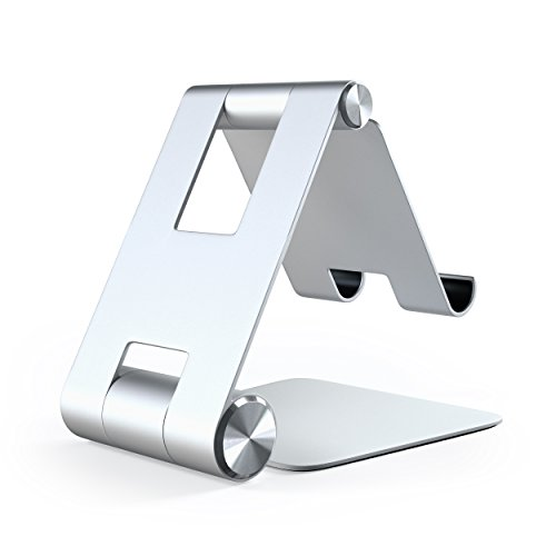 Satechi R1 Aluminum Multi-Angle Foldable Tablet Stand - Compatible with 2020/2018 iPad Pro, 2020 iPad Air, iPhone 12 Pro Max/12 Mini/12, 11 Pro Max/11 Pro, Xs Max/XS/XR/X, 8 Plus/8 (Silver) Photo #3