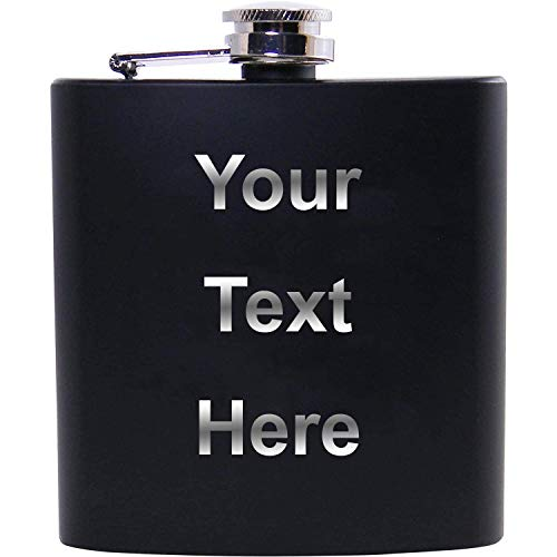Personalized Add Your Custom Text Stainless Steel 6-Ounce Hip Engraved Customized Drinking Flask Customizable (Black)