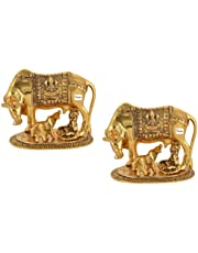 BRIJ HAAT Kamdhenu Cow and Calf with Gopal Krishna Brass Like Metal Showpiece for Home Decor and Decorative Gift Item Big @17cm