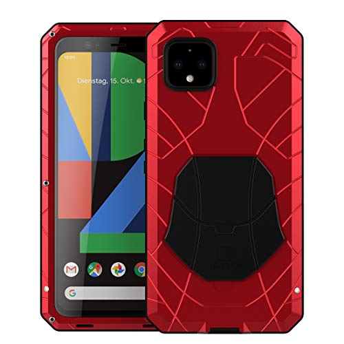 Foluu Google Pixel 4 Case, Pixel 4 Case Heavy Duty, Hybrid Armor Aluminum Metal Shockproof Bumper Frame Case Soft Rubber Silicone Military Hard Case with Screen Protector for Google Pixel 4 (Red)