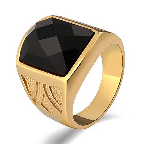 SonMo Stainless Steel Herren Ringe Siegelring Schwarzer Stein Bandring Breit Edelstahl Gold Signet Ring Band Ring Daumenring für Mann