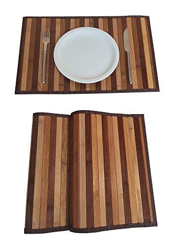 Lot de 2 sets de table en bois de bambou américain, rectangulaires, lavables, antidérapants, anti-taches, résistants à la chaleur, marron, 30 x 45 cm