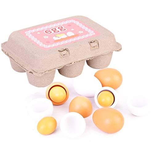 Juego de juguetes de huevos de simulación de madera de 6 piezas...