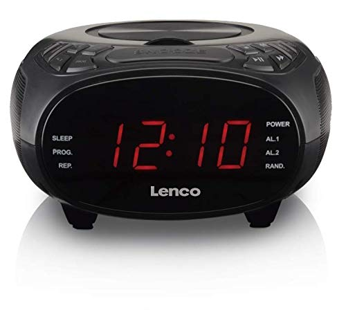 Lenco CR-740 Radiowecker mit CD-Player - AM/FM Radio - zwei integrierte Lautsprecher - 2 Weckzeiten - Schlummerfunktion - Sleeptimer - Dimmer Funktion - LED Display - schwarz