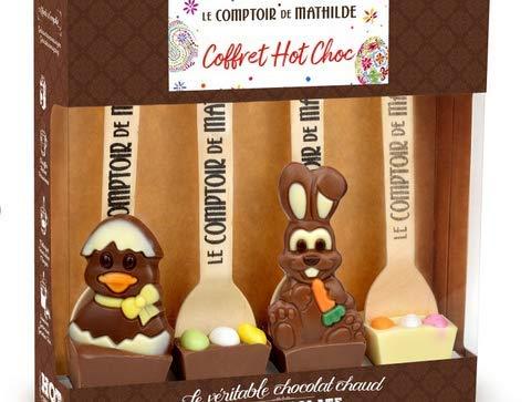 Le Comptoir de Mathilde Cofanetto Cioccolata Calda con Soggetti di Pasqua da Immergere in Tazza e Degustare - 1 x 120 Grammi