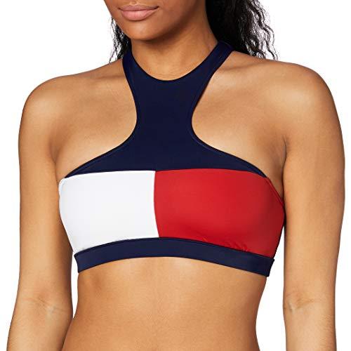 Tommy Hilfiger Damen Crop TOP RP Bikinioberteil, Blau (Navy Blazer-Tango Red Navy Blazer-T 979), 38 (Herstellergröße: M)