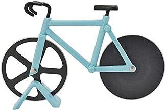 Tagliapizza a forma di bicicletta in acciaio inox con rotella tagliapizza con supporto in plastica professionale per la cucina, affettatrice per pizza, affilata e facile da pulire Blue