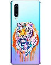 Oihxse Compatible con Huawei P40 Pro Plus Funda Suave Gel TPU Silicona Cristal Transparente Carcasa Acuarela Animal Pintado Patrón Protectora Estuche Bumper Caso Case (B7)