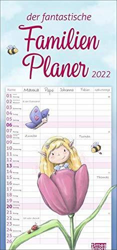 Zauberwesen Familienplaner 2022 - times&more Wandkalender mit Monatskalendarium - 5 Spalten - 21 x 45 cm